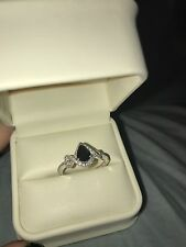 Natural Sapphire Ring 1/8 ct tw Diamonds 10K White Gold size 8.5