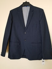 Saks Fifth Avenue Two Button Denim Navy Modern Fit Mens Blazer Jacket Size Large