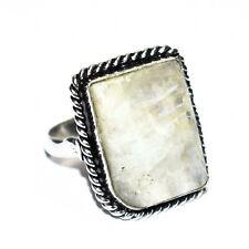 Rainbow Moon Stone Gemstone 925 Silver Jewelry Ring-7.25