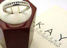 Kay Jewelers 10K wedding ring 1/10 ct tw Round Cut White Gold  size 10.5