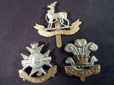Lot of 3 British Regiment Hat/Cap Badges -- Welch, Warwickshire, Notts & Derby