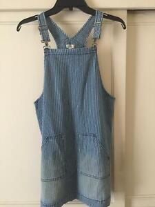 Gymboree Girls striped denim blue/white  overall pinafore dress size 14