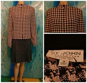 ST JOHN COLLECTION KNITS Pink Black Jacket XL 16 14 Suit Blazer Zipper