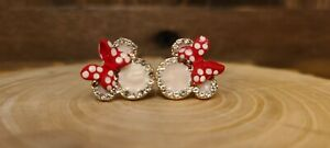 S925 Disney Minnie Mouse Bow Rhinestone Stud Earrings ( SILVER)