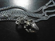 """unique Anatomical Gothic sculpted .925 Silver Plated Human  Heart 27"""" necklace"""