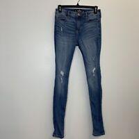 Hollister Women's Distressed Mid Rise Super Skinny Blue Denim Jeans Size 3