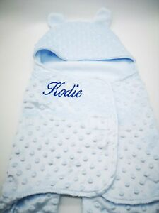 Personalised Baby DIMPLE SWADDLE WRAP Blanket  Boy Girl New  Birth Gift NEW 2020
