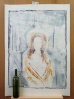 Akt Weiblich Malerei Bild Vintage Jahre 80 Malerei Aquarell Eiscreme P35