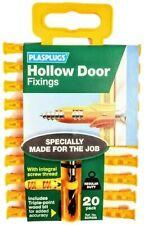 HOLLOW DOOR FIXING PLUGS PLASPLUGS RAWLPLUG PACK of 20 PLUGS WITH DRILL INCLUDED