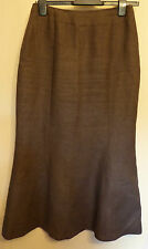 Hobbs UK10 EU38 US6 dark brown 100% linen unlined skirt with flared hemline