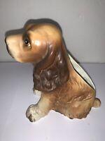 Vintage Ceramic Glazed Figurine Puppy Dog Brown Cocker Spaniel Beagle? Planter