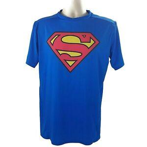 Under Armour Compression Shirt Superman Mens XL Blue Alter Ego Heat Gear