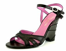 Sonia Rykiel NAPPA Black Leather Ankle Strap Wedge Sandals 7091 Size 36.5 EU NEW