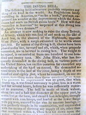1830 newspaper w Description INVENTION of aVERY EARLY UNDERWATER DIVING MACHINE