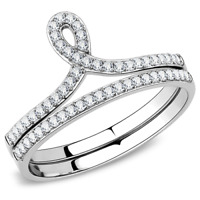 Lades ring set cz engagement wedding band guards baguettes solitaire 2pcs 1558