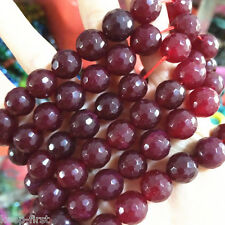 Natural 10mm Faceted Red Jade Ruby Gemstone Round Beads Loose Beads 15'' AAA