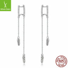 25cabffd1 New Genuine 925 Sterling Silver Feather Long Dangle Zirconia Stud Earrings  Girls