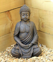 Large 39cm Solar Power Buddha Stone Effect Garden Outoor Indoor Statue Ornament