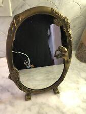 Vintage Brass Art Nouveau Frame Mirror Andrea By Sadek Nude Woman