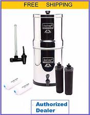 "Big Berkey Water Filter Purify w2 Black & 2 PF2 Filters & 7.5"" Water View Spigot"