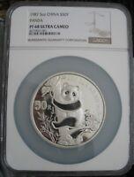 1987 China Panda 5oz Silver 50 Yuan NGC PF-68 Ult. Cameo