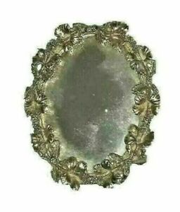 "Vintage Tarnished Metal Framed Mirror Victorian 5"" High"