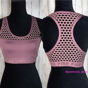 VS Pink Ultimate Mesh Sports Bra Racerback Begonia Athletic Workout Gym Running