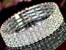 S002 4 Rows Crystal Rhinestone Party Wedding Bridal Elastic Bracelet Wristband