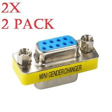 2x DB9 9 Pin Female to Female Gender Changer Converter Extension Adapter RS232