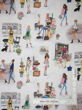 Ladies Girls Cafe Florist Shopping Cotton Fabric Kaufmann C'est Chic By The Yard
