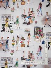 Ladies Girls Cafe Florist Shopping Cotton Fabric Kaufmann C'est Chic By The Yard