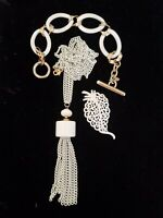 Vintage MONET 1960s White Enamel Parure Tassel Necklace Brooch Bracelet Set