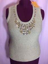New With Tag Ruby Rd XL L? Pullover sweater vest Holiday Metallic Gold Top N15