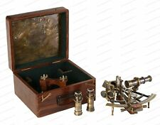 """8"""" SEXTANT Antique With Wooden Box Nautical Brass Maritime Heavy Ship Astrolabe"""