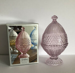 GORHAM GERMANY EMILY'S ATTIC PINK GLASS EGG COVERED CANDY DISH IN BOX