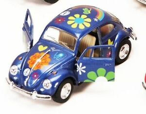 """New 5"""" Kinsmart 1967 Volkswagen Beetle w/ Flowers Decals Diecast Model 1:32 Blue"""
