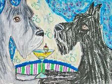 Dog Art Print 11 x 14 Giant Schnauzer drinking a Martini by Artist Ksams