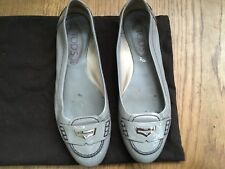 TOD'S Patent Leather Grey Flats Driving Shoes 36 1/2 UK 3.5 US 6.5