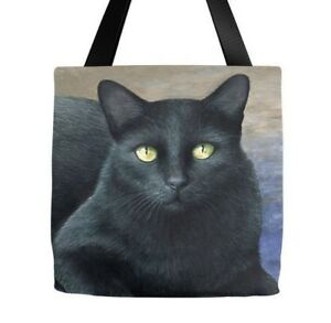 Tote bag All over print black Cat 621 art painting by L.Dumas