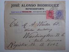 SOBRE DE CARTA AÑO 1910 DOBLE EDIFIL 243 Y 270 A WASHINGTON