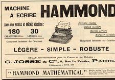 HAMMOND MACHINE A ECRIRE TYPEWRITER G. JOSSE PARIS PUBLICITE 1911 FRENCH AD