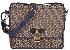 NEW DKNY Donna Karan Chino Ink Logo Heritage Lock Crossbody Top Handle Purse Bag