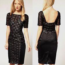 Womens Karen Millen Lace Satin Pencil Black Cocktail evening party Dress UK Sz