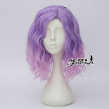 35CM Light Purple Mixed Pink Fancy Curly Women Lolita Synthetic Hair Cosplay Wig