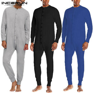 Mens One-piece Leotard Long Sleeve Bodysuit Romper Underwear Long Johns Trousers