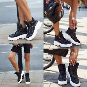 WOMENS BOOTS LADIES LACE UP CHUNKY TRAINERS PLATFORM SNEAKERS CASUAL SHOES SIZE