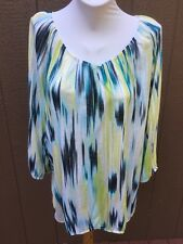 Chico's Blue Green White Watercolor Ikat Peasant Top Shirt 3 XL 16 18