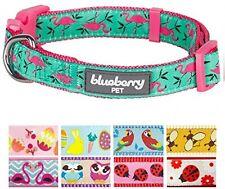 Blueberry Pet Pink Flamingo On Light Emerald Basic Dog Collar, Neck 37cm-50cm,