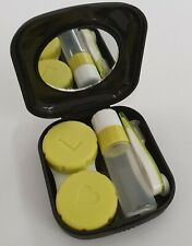 Black Mini Contact Lens Travel Kit Case Pocket Size Case Tweezer Solution Holder