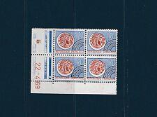 timbre France bloc de 4 coin daté   préoblitéré 70c  bleu   num: 129  **